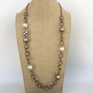 Faux Pearl and Crystal Bead Long Necklace